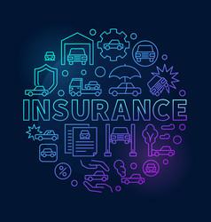 Car insurance round blue vector