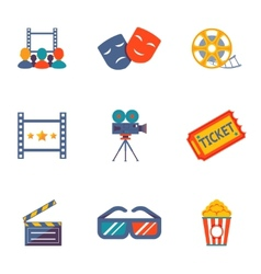 Cinema and movie flat icon set vector