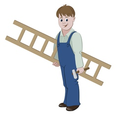 Repairman or worker standing with a ladder vector