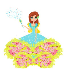 Floral background with a beautiful fairy vector