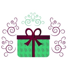 Green gift with ribbon vector