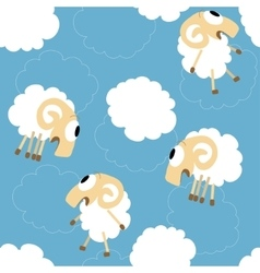 Seamless pattern with cute funny sheep vector