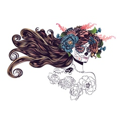 Sugar skull girl in flower crown10 vector