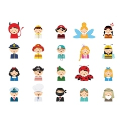 Kids wearing different costumes vector