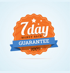 Seven day guarantee money back badge vector