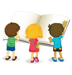 Children reading from big book vector
