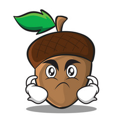 Angry acorn cartoon character style vector