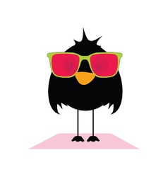 Bird with sunglasses vector