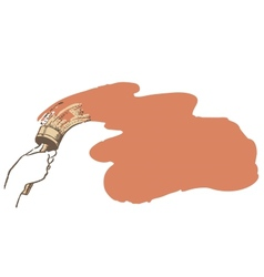 Brush in hand paints the wall vector image