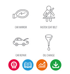 Car mirror repair oil change and seat belt vector