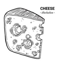 Cheese fresh food hand drawn vector