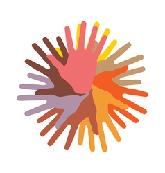 Colorful round of hands vector