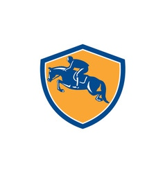 Equestrian show jumping side shield retro vector