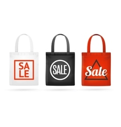 Fashion sale fabric cloth bag tote set vector
