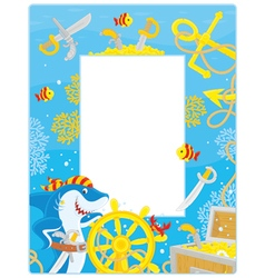 Frame with a pirate shark and sunken treasure vector image
