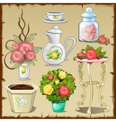 Great set of tableware furniture and flowers vector