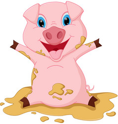 happy pig cartoon playing mud vector image vector image