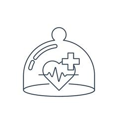 Health care icon heart pulse check up diagnostics vector image