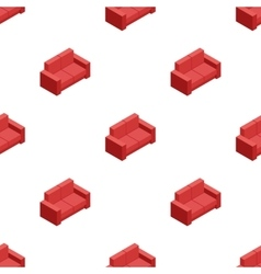 isometric red sofa seamless pattern vector image