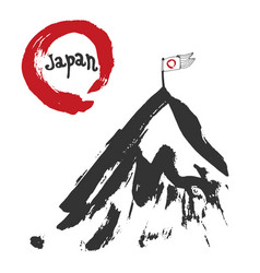 Japan mountain and red sun flag sumi-e red zen vector
