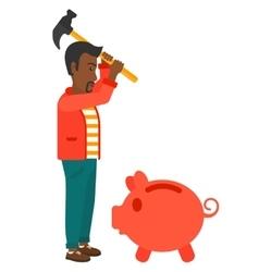 Man breaking piggy bank vector image