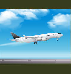 Passenger airliner takeoff realistic poster vector