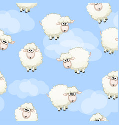 seamless pattern with cute funny herd white sheeps vector image vector image