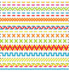 sewing stitch borders vector image