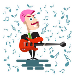 Singer in suit with bass guitar flat design pink vector