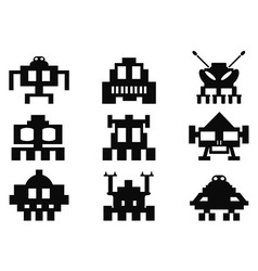 space invaders icons set - pixel monsters vector image