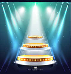 studio background with lighting and gold podium vector image
