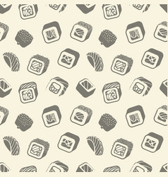 Sushi and rolls vintage seamless pattern on a vector