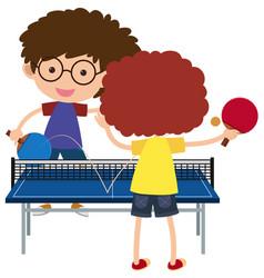 Two boys playing pingpong vector