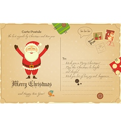 Vintage Postcard with Christmas and New Years vector image vector image