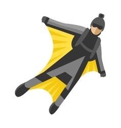 Wingsuit man jumper character skydiving flying vector image