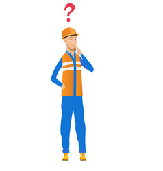 Young caucasian builder with question mark vector