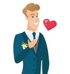 Young caucasian groom holding hand on his chest vector