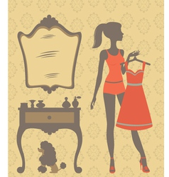 Girl dressing vector