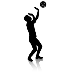 Silhouette of a man who plays basketball vector