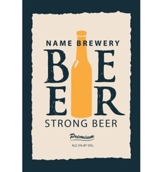 label for beer with a bottle vector image