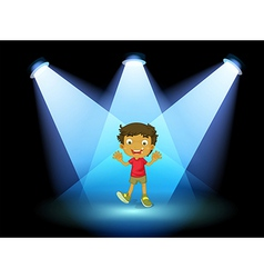 A little kid at the center of the stage vector