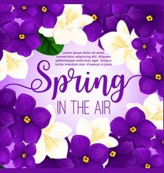 Spring flower frame greeting card design vector