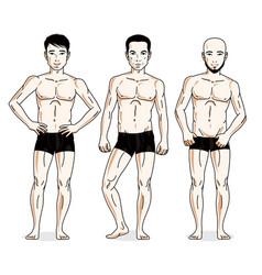 Handsome men standing in black underwear set of vector