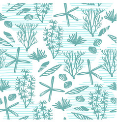 trendy sea seamless pattern with hand texture vector image