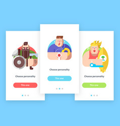 Mobile app screens with avatar characters vector