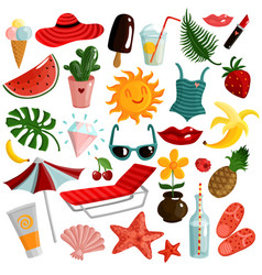 summer accessories set vector image