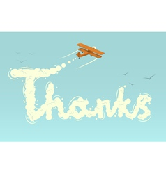 Biplane with word thanks vector