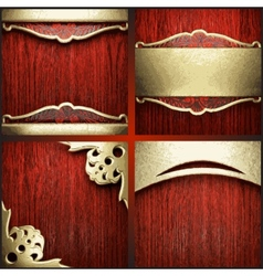 Red wood and gold background set vector