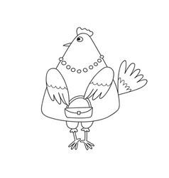 cartoon fashionable chicken vector image