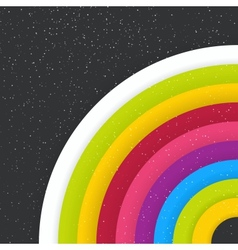 Rainbow colored circles on dark starry background vector